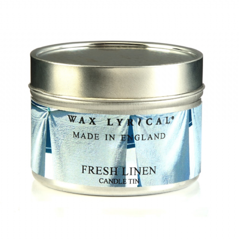 Fresh Linen TIN Made In England Scented Candles Wax Lyrical 16 Hours